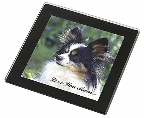 Papillon Hund 'Love You Mum' Glasuntersetzer mit schwarzem Rand Weihnachtsgesche