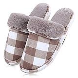 ToullGo Winter Warm Slippers, Women Men Winter Warm Plush Slippers, Home Floor Soft Warm Slippers, Indoor Anti-Slip Cotton-Padded Slipper Washable (UK8.5-9, Brown)