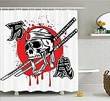 Abakuhaus Duschvorhang, Schädel von Harakiri mit Bandanna Samurai Schwerter und Japan Flagge Bild Kunst Bild Druck, Blickdicht aus Stoff inkl. 12 Ringe für Das Badezimmer Waschbar, 175 X 200 cm