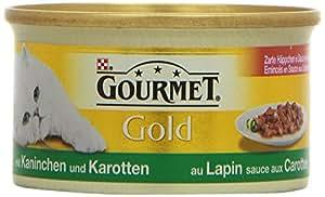 Gourmet Gold Katzenfutter Zarte Haeppchen in Sauce mit Kaninchen in Karottensauce, 12er Pack (12 x 85 g) Dosen