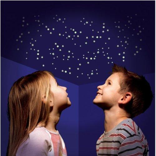 350 Leucht Sterne und mehr - Traum Deko Megaset nachtleuchtend UV Sternenzelt Leuchtsterne Sticker Deko Sterne für ganze Galaxien Sternenhimmel inkl. Sternkarte