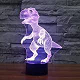 3D Illusion Lamp Jawell Dinosaur Effect Night Light 7 Colors Glows Switch by Smart Touch Button Creative Present Great Home Office Decorations