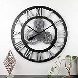 ZY&DD Getriebe wanduhr,Vintage Industriellen Stil Große Wohnzimmer Uhr,Kreativ Home 3D Handgemachte Dekoration,Stille wanduhr-U 70cm(28inch)