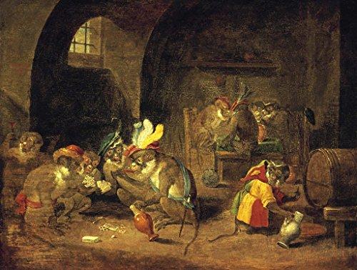 """Kunstdruck / Poster: David Teniers der Jüngere """"Kartenspielende Affen"""" - hochwertiger Druck, Bild, Kunstposter, 100x75 cm"""