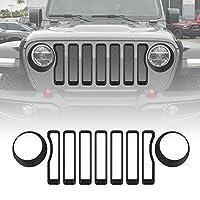 Matt Black Front Grille Grill Inserts & Headlight Covers Trim for Jeep Wrangler JL Sport/Sport S 2018 2019