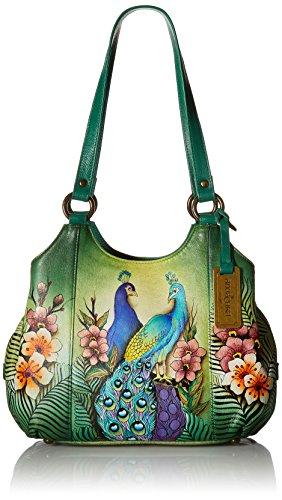 Anuschka 20% Frühlingsverkauf - handbemalte Ledertasche, Schultertasche für Damen, Geschenk für Frauen, handgefertigte Tasch- Leather satchel with 3 compartments (Passionate Peacock 469 PPK) -