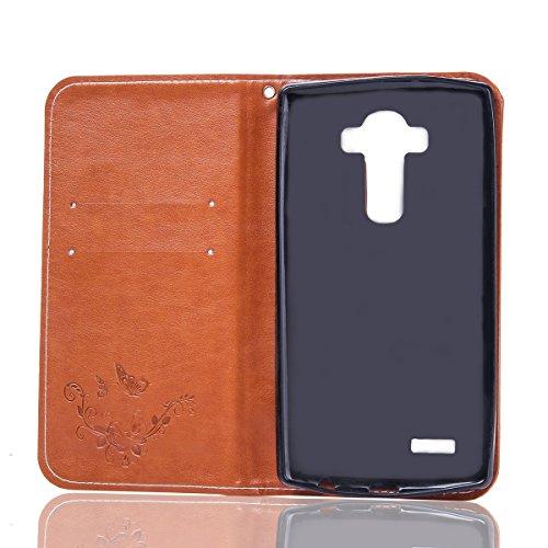 FESELE étui en Cuir pour LG G3,Coque Housse Etui pour LG G3,PU étui en Cuir Avec Design Motif de Fleur de Papillon,Style de Style Fermeture Magnétique Portefeuille en Cuir PU Élégant Housse de Recouvr Brun