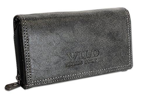 onnaie | Geldbörse mit Münzfach Kreditkartenfächer Ausweisfächer Fotofächer | Brieftasche für Frauen - verschiedene Farben XL (11033) (Schwarz) (Fossil Geldbörse Für Frauen Schwarz)