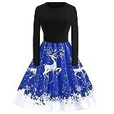 Weihnachten Partykleider Damen Elegant,Riou Weihnachtskleid Langarm Knielang Retro A Linie Abendkleid Cocktailkleid Swing Kleid (S, Blau K)