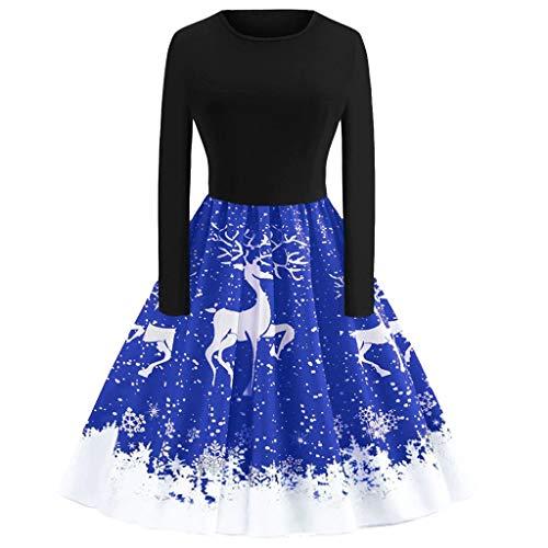 Weihnachten Partykleider Damen Elegant,Riou Weihnachtskleid Langarm Knielang Retro A Linie Abendkleid Cocktailkleid Swing Kleid (S, Blau K) (Übergröße Schwein Kostüm)