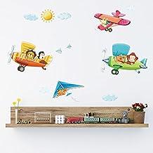 Decowall DA-1506B 3 Biplanos de Animales Vinilo Pegatinas Decorativas Adhesiva Pared Dormitorio Salón Guardería Habitación Infantiles Niños Bebés