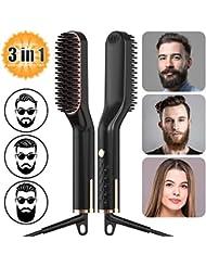 Männer Schnelle Bartkamm Glattes Haar kämmen, AMTOK Männer Electric Heated Beard Straightener Comb Brush, Männer Glätteisen Haarglättung Tragbare Bürste,Multifunktionale 3 in 1 Temperaturmodi