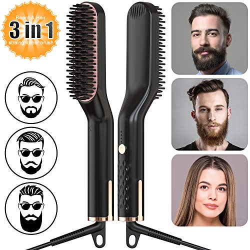 Männer Schnelle Bartkamm Glattes Haar kämmen,AMTOK Männer Electric Heated Beard Straightener Comb Brush,Männer Glätteisen Haarglättung Tragbare Bürste,Multifunktionale 3 in 1 Temperaturmodi