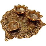 Crafts® Traditional Decorative Pooja Thali with Two vatis and Diya for All Auspicious Occasions