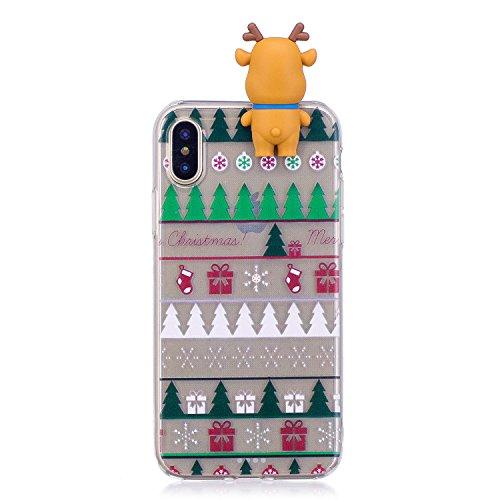 Cover iPhone X Case iPhone 10 Custodia Spiritsun Soft TPU Christmas Case Cover 3D DIY Case Elegante Flexible Natale Regalo Phone Cover Case Per iPhone X / 10 (5.8 Pollici) - Arco e albero di Natale Albero di Natale