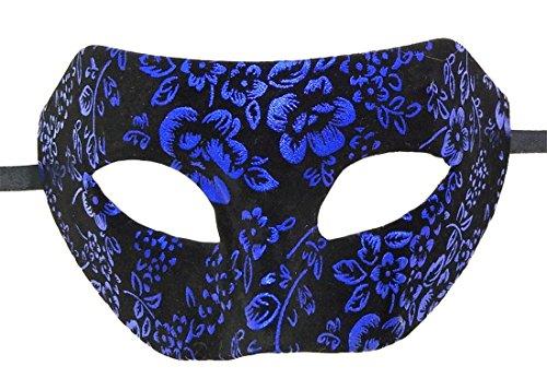 ke Flanell Antiquität Retro Blumen Venezianisch Party Römisch Halloween Mardi Gras Karneval Maske (Königs Blau) ()
