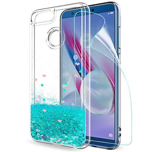 LeYi Hülle Huawei Honor 9 Lite Glitzer Handyhülle mit HD Folie Schutzfolie,Cover TPU Bumper Silikon Treibsand Clear Schutzhülle für Case Huawei Honor 9 Lite Handy Hüllen ZX Turquoise