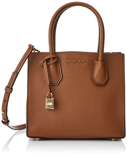 Michael Kors Mercer Medium Crossbody, Bolso Bandolera para Mujer, Marrón (Luggage), 22x10x19 cm (W x H x L)