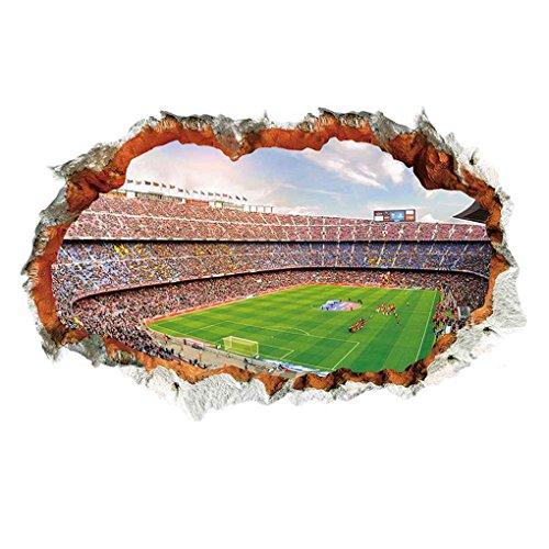 Preisvergleich Produktbild Zerama 60x90CM Loch Design Fußball-Feld-Muster PVC-Wand-Aufkleber Tattoo 3D-Wand-Aufkleber für Schlafzimmer-Dekoration