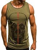 OZONEE Mix Herren Tanktop Tank Top Tankshirt T-Shirt Print Unterhemden Ärmellos Muskelshirt Fitness MECH/2048 Khaki M