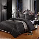 500 Thread Count SUPER KING BED SIZE DAMASK BLACK 100% Cotton Jacquard Duvet Cover With Pair of Pillowcases (Super King, Black)