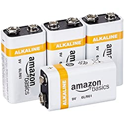 AmazonBasics Lot de 4piles alcalines 9V