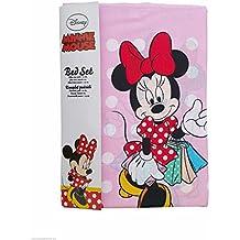 Completo Letto Lenzuola Singolo Disney Minnie Cotone set Sopra Sotto con angoli (Letto Disney)