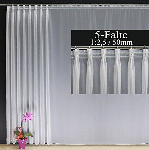 EASYHomefashion Hochwertige Fertiggardine Voile Store mit Faltenband&Bleiband 5-Falten-KRÄUSELBAND 1:2,5/50 mm, Versch. Größen, 160 x 450 cm (HöhexBreite)