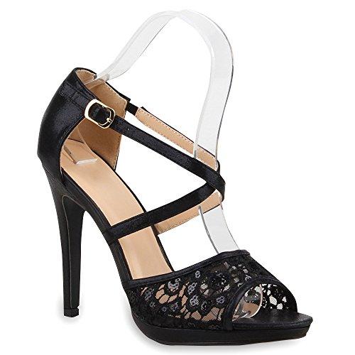 Damen Sandaletten High Heels Spitze Pailletten Stiletto Schuhe 100966 Schwarz Arriate 39 Flandell