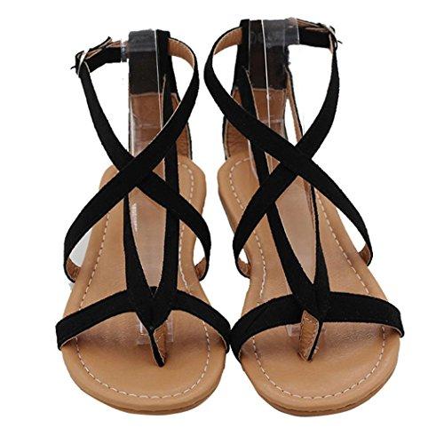 HKFV Womens Damen flache Keil Espadrille Rom binden Sandalen Sommerschuhe Plattform Römersandalen Flache Heel Sandaletten (38, Black) (Kork Kork-sandalen Einfache)
