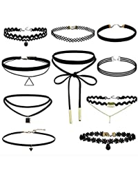 HENGSONG Noir Choker Retro Ornements Collier Set Double Tressé Harajuku Collier Tattoo Collar (Style4)