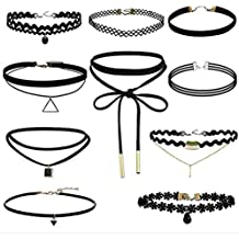 10 Pcs Choker Necklace for Women Girls, Black Classic Velvet Stretch Gothic Tattoo Lace by (Lace Choker)