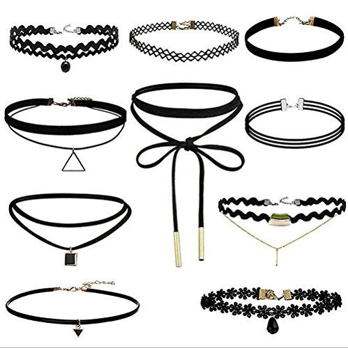 - 51gNdUfzQ L - 10 Pcs Choker Necklace for Women Girls, Black Classic Velvet Stretch Gothic Tattoo Lace