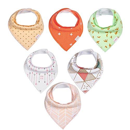 Finalhome Baby Saugstarke Baumwolle Sabbern Bandana Lätzchen, 6 Pack Geschenk-Set für speichelfluss und beim Zahnen Unisex Neugeborene (B.Muster)