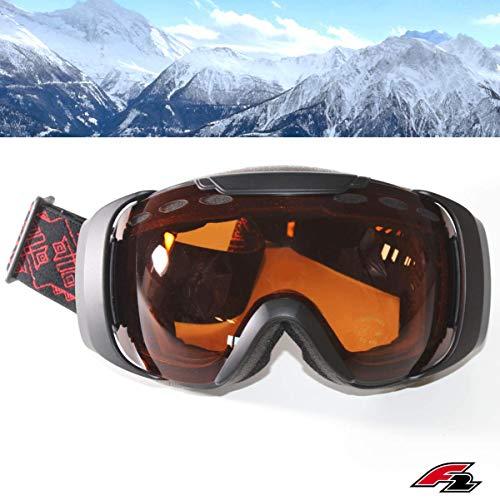 F2 Skibrille Oversize, S2 Optik orange getönt 100{94a141e1fbe9c8e2f32a8b4571703904beb4b088174184f26fc6ae18f29851ba} UV-Schutz Snowboardbrille ideal für  Skihelm ~yx