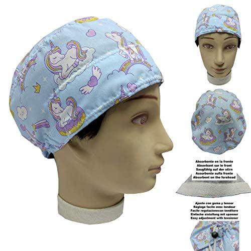 Cuffietta chirurgica UNICORNS per Capelli Corti UNISEX chirurgo, dentista, veterinario, Asciugamano da cucina sulla fronte, regolabile con tenditore e gomma