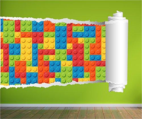 LEGO Bricks gezogen 3D Wall Art Aufkleber Aufkleber Kids Full Farbe Print, Large 92cm x - Brick Wall Graphics