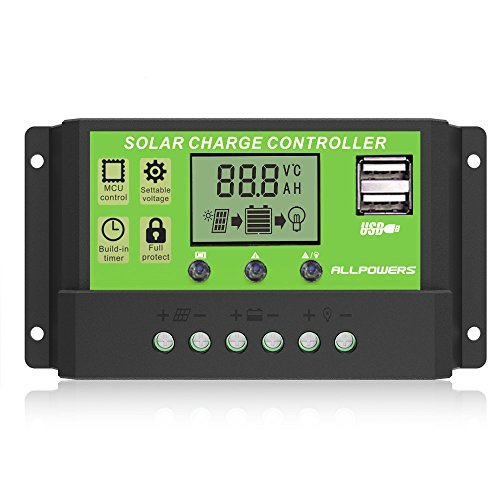 ALLPOWERS Solar Charger Controller 20A Solar Panel Battery 12V/24V Intelligent Regulator with USB Port LCD Display -
