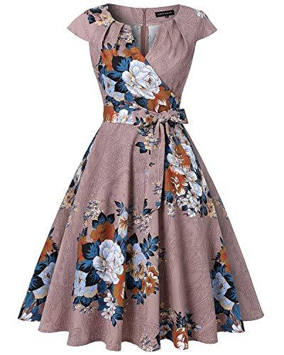 MINTLIMIT Homecoming 1950s Retro Vintage Kappenärmel V-Ausschnitt Flared A-Linie Kleider(Floral...