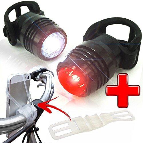 LED Fahrradbeleuchtung Set mit Fahrradhalterung USB wiederaufladbar Vorder und Rücklicht, Wasserdicht Rücklicht Lampe Frontlicht und Rücklicht mit USB-Kabel für Fahrrad Rennrad MTB Mountainbike
