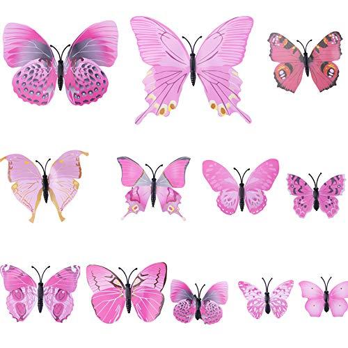 WELROG Schmetterling Haarklammer Bögen Streifen für Frauen Mädchen Braut Haarschmuck Set 12Pcs Hochzeit Party Ornament (Rosa)