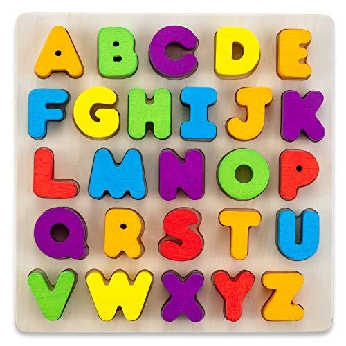 LISA & MAX Hochwertiges ABC Puzzle aus Holz - 26 wunderschöne große Holz Buchstaben - Zum Alphabet Lernen - Lern- und Motorikspielzeug für Kinder ab 2 Jahre (Buchstaben Holz Abc)