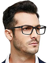 78a89448f5b OCCI CHIARI Men Fashion Black Rectangle Eyewear Frame with Non-Prescription Clear  Lens