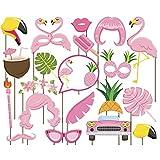Godagoda Accessoires Photobooth Masquerade Accessoires de Photos Fête d'anniversaire Mariage Série Flamants 20PCs