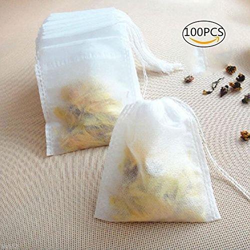 Desechables para bolsas de té, Woopower 100pcs 2.17x 2.36inch té bolsa de filtro de tela no tejida cordón vacío Heal sello papel de filtro para el hogar y Travel Necessities