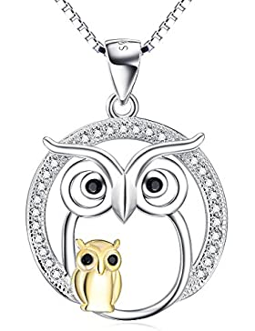 YFN Ketten Damen Sterling Silber Mutter und Kind Eule Anhänger Halskette, 45,7 cm Rolo Kette