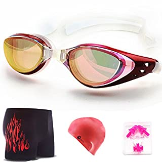 Anti Reflection Swimming Glasses anti-fog waterproof Goggles with a Bonus Gift Set of Maching trunks ,cap,pair ear plug, nose clip Unisex Black suit (goggles + cap + ear nose clip + trunks)
