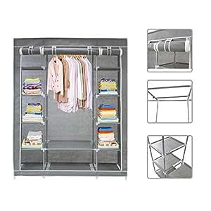 todeco armoire penderie en tissu garde robe 3 portes. Black Bedroom Furniture Sets. Home Design Ideas