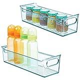 mDesign Set da 4 Organizer per cameretta - Contenitore portaoggetti con Manici Realizzato in plastica Senza BPA - Box Grandi Ideali per Giocattoli, Vestiti, Pannolini o Bambole