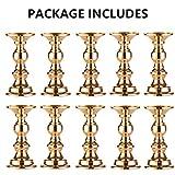Set aus 10 Gold-Metall-Säulen-Kerzenhaltern, Hochzeit Mittelstücke Kerzenständer Kerzenständer Dekoration Ideal für Hochzeiten, Besondere Anlässe, Partys (Passend für 50mm Dia Kerze 15cm H, 10 Pcs) - 7